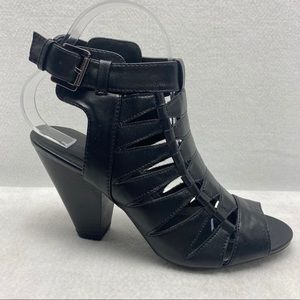 """Wild Diva Black Cage Open Toed Ankle Buckle 4"""""""